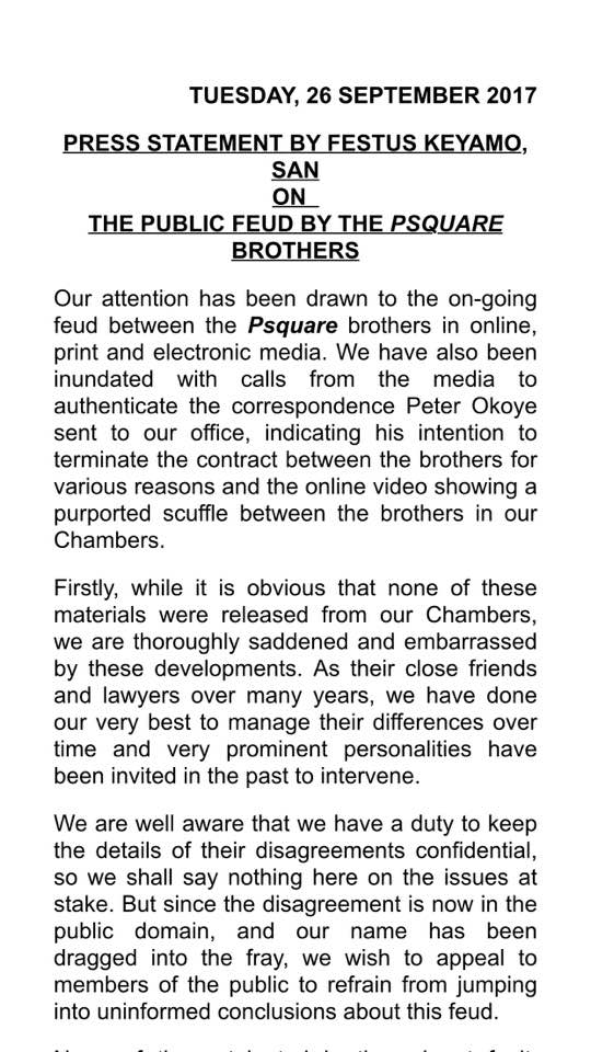 Psquare's Lawyer Festus Keyamo Releases An Official Statement About Psquare Crisis