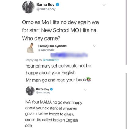 Burna Boy Blasts Fan Who Tried To Correct His English