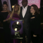 Femi & Nana Otedola pictured with daughter, DJ Cuppy as she received the NYU's 2017 Alumni Artistic Achievement Award