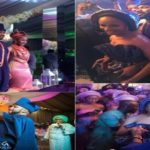 Watch Banky W and Adesua Etomi make a 2nd grand entrance at their wedding reception by emerging from a screen (Photos/Video)