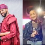 Look as Adesua Etomi & Banky W sing together in front of an audience