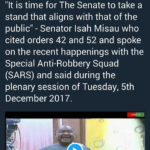 """SARS is used to intimidate political opponents and we must end this impunity"" – Senator Isah Misau"