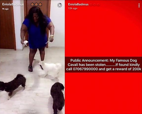 Actress Eniola Badmus dog