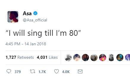 """""""I will sing till I'm 80"""", says Nigerian singer Asa"""