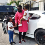 Nigerian Singer, Timaya pictured on a school run with his daughters