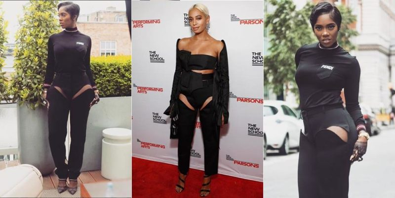 Trending: Battle of the peek-a-boo pants - Solange Knowles vs Tiwa Savage
