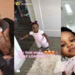 Davido shares adorable video of Hailey his second daughter  taking her first steps