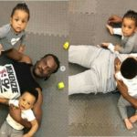 Cute photos of Paul Okoye spending quality time with his twins, Nadia & Nathan