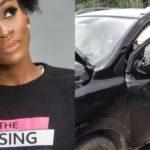 BBNaija Star, Anto Shares Photos Of Her Wrecked Car After Surviving Crash